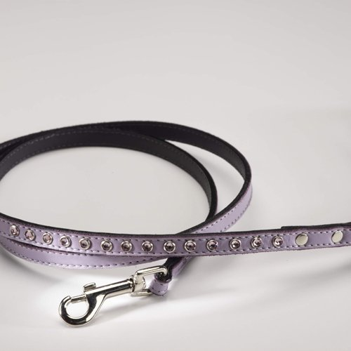 Zuri Collection 092145349014 Toy Leash Purple Leather Pink Crystal 4 Ft. 0.37 In. Width