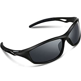Torege Polarized Sports Sunglasses For Men Women For Cycling Running Fishing Golf TR90 Unbreakable Frame TR010-1