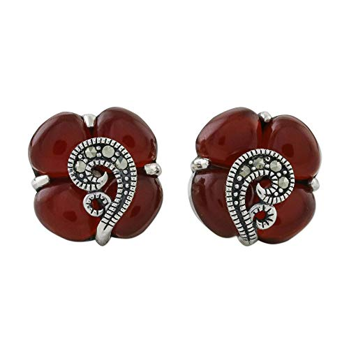 (NOVICA Multi-Gem Onyx .925 Sterling Silver Button Earrings, Orange Clover')