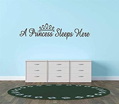 """Decal - Vinyl Wall Sticker : A Princess Sleeps Here - Color=Black - Size=10""""X20"""" - Teen Girl Baby Inspirational Quote Sign Banner Bumper Sticker Living Room Bedroom Kitchen Home Decor Picture Art Image Peel & Stick Graphic Mural Design Decoration - Discou"""