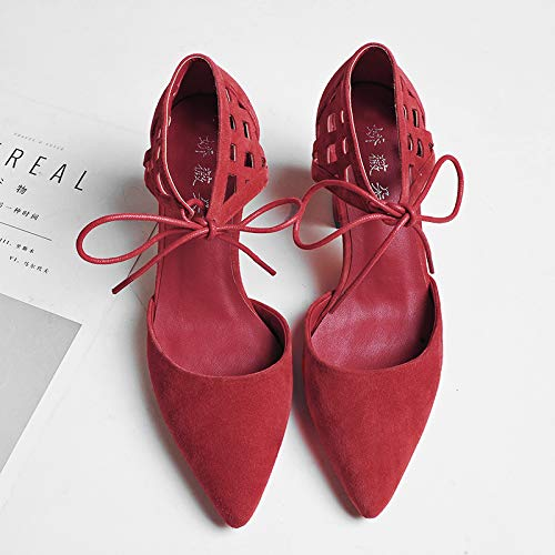 Thick Single Pu Women'S Carved Heeled Hollow Lace Red Yukun High High Shoes Shoes Hollow With Cross Straps Autumn heels wAcxz1zO4q