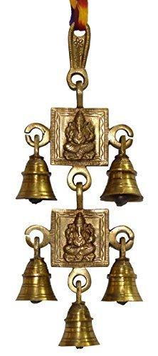 Shubh Labh God Ganesha/Ganesh Wall Hanging Bell Brass Metal Door Decor, Shri Ganesh & Laxmi Ji -5Bells by JMD Handcrafted