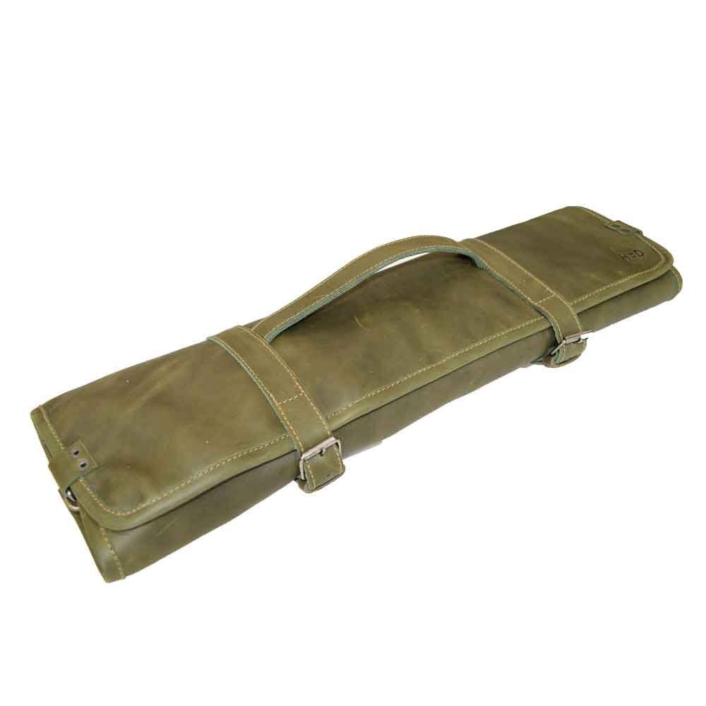 Hide & Drink, Durable Leather Knife Roll with Durable Water Resistant Canvas Lining (8 Pockets) Handmade Includes 101 Year Warranty :: Dark Jade by Hide & Drink