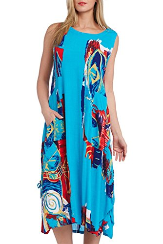 Kaktus Women's Abstract Print Two Pocket Swim Cover Up, Turq, Small