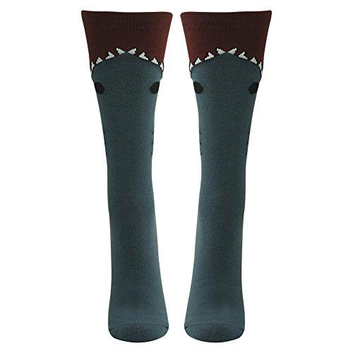 Gmark Women's Opaque Wide Mouth Shark, Cotton New Gift Fun Unique Fashion Elastic Socks Blue (Shark Soccer Socks compare prices)
