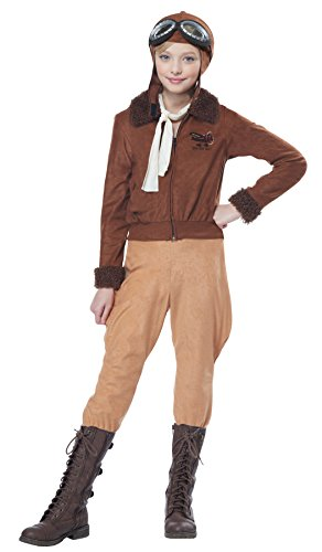 [California Costumes Amelia Earhart/Aviator Costume, Medium, Brown] (Pilot Costumes Kids)
