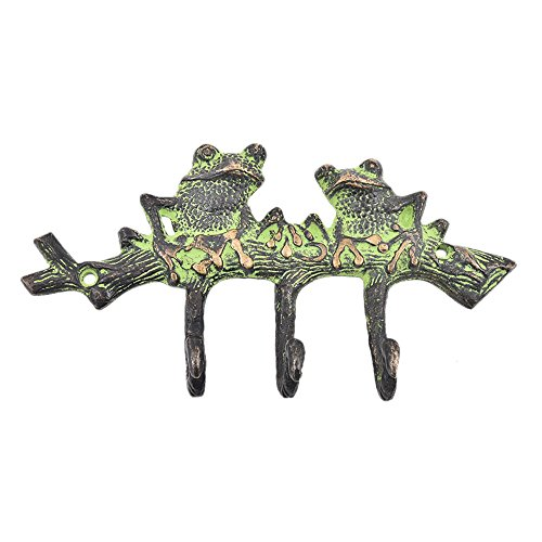 1 Piece Two Patina Green Frogs Brass Wall Hooks Cloth Coats Hangers Key Accessories Holders Online HK-485 ()