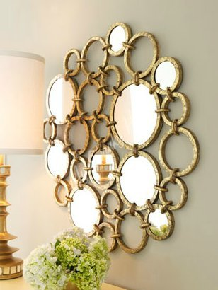 Gold Iron Rings Mirrored Wall Art - round wall art - circle wall mirror