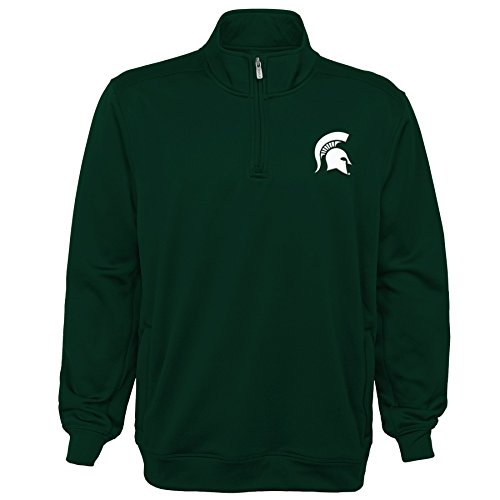 OuterStuff NCAA Michigan State Spartans Youth Boys Trainer 1/4 Zip Jacket, Medium(10-12), Hunter Green (Michigan State Spartans Jacket)