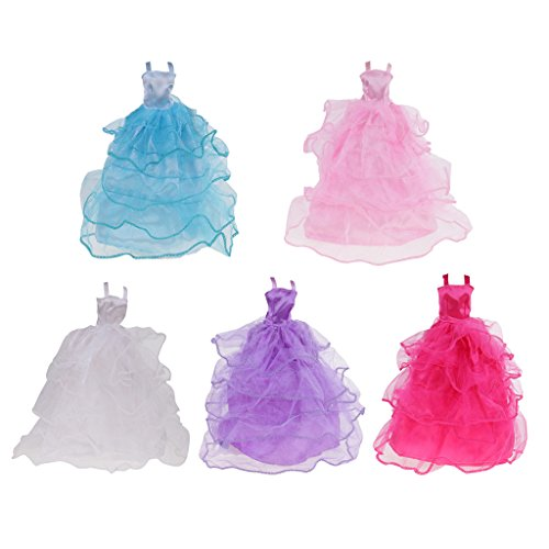 Dolls Dress Christmas Up (MagiDeal 5Pcs 10in Fashion Dolls Evening Dress Beautiful Party Gowns Clothes Outfits for Barbie Sindy Blythe/Momoko Dolls Kids Dress up Accessories Girls Xmas Gifts)