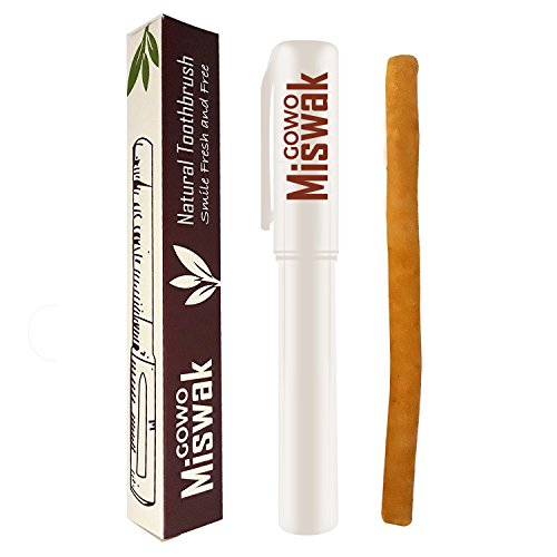 GOWO Miswak Stick and Holder - Natural Teeth Whitening Kit - No Regular Toothpaste Needed - Herbal Teeth Whitener and Breath Freshener - 1 x Siwak Natural Toothbrush and 1 Miswak Holder