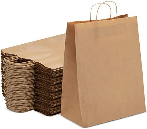 "Brown Kraft Paper Bags 250 Pcs ● 17""x7""x12.5"" with Handles ● Ideal for Shopping, Gift, Wedding, Party, Craft 
