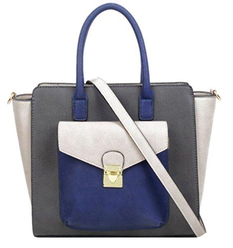 Sintético Girly Para Mujer Asas De Gris Handbags Bolso Material XRXZO