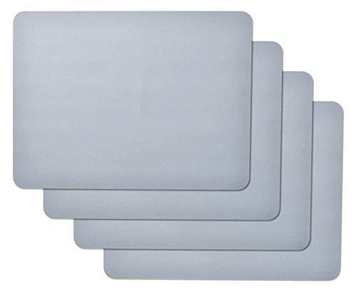 gasare, Silicone Placemats, Kids Placemats, Non-slip, Waterproof, Very Flexible, Silicone, 16 x 12 Inches, Set of 4, Grey