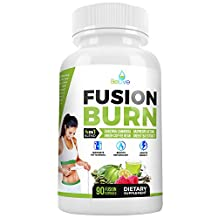 Fusion Burn Garcinia Cambogia Thermogenic Weight Loss Pills for All Body Types - Green Tea Extract, Green Coffee Bean, Raspberry Ketones - Fat Burner Pills for Women and Men - 90 Caps …