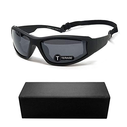 TERAISE Motorcycle Riding Glasses Safety Ski Goggles Adjustable UV Protective Windproof Dustproof Anti Fog Sunglasses for Various Outdoor Sports (Black)