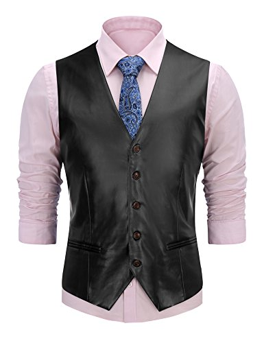 FISOUL Men's Suit Vest Faux Leather Slim Fit Casual Motorcycle Jacket (Mens Casual Motorcycle)