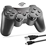 PS3 Wireless Controller Bluetooth Gamepad Remote Controller for Playstation 3 PS3 with Dualshock Six Axis&Charging Cable (Black(1pc)) (Color: Black(1pc))