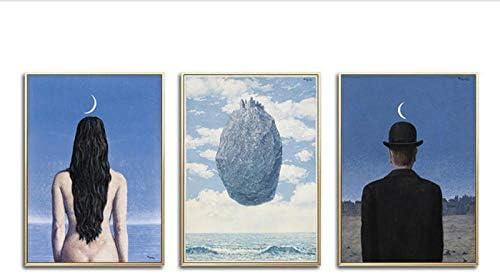 Zhaoyangeng アーティストクラシックシュールレアリズムのアートワークのポスターと版画キャンバスアート絵画壁の写真家の装飾-40×60センチ×3フレームなし