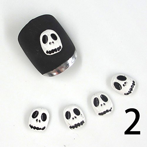 Gracefulvara 10Pcs 3D Halloween Design Skull Nail Art