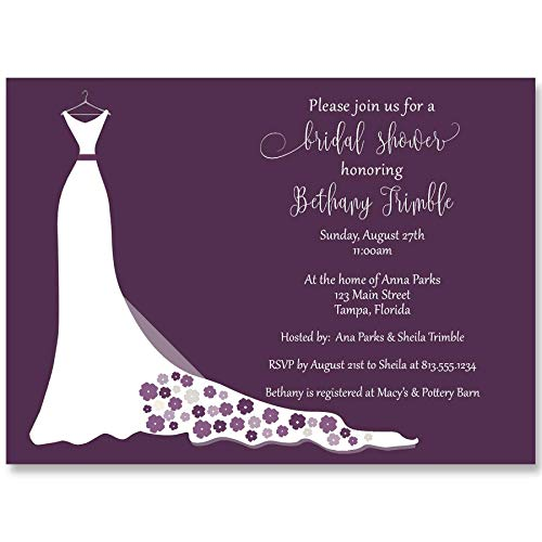 (Simple Wedding Gown, Bridal Shower Invitations, Wedding Shower Invites, Bridal Shower, Customized Invites, Dress, Gown, Plum, Purple, Flowers, Chic, Modern, 10 Printed Invites with White Envelopes)