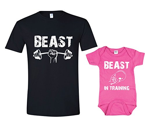 Texas Tees Funny Workout TShirt Set Beast in Training Beast TShirt,Beast & Beast in Training - Black & Pink,Mens (X-Large) & 6-12 Month