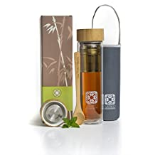 Glass Tea Infuser Travel Bottle |15.2oz/450ml Double-Wall Thermal Travel Coffee Mug with Strainer Filter Bamboo and Stainless Steel Plastic-free Cap | Neoprene Case | Tea Scope | By Vireo