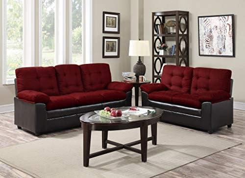Superb Amazon Com Gtu Furniture 2Pc Burgundy Microfiber Sofa Forskolin Free Trial Chair Design Images Forskolin Free Trialorg