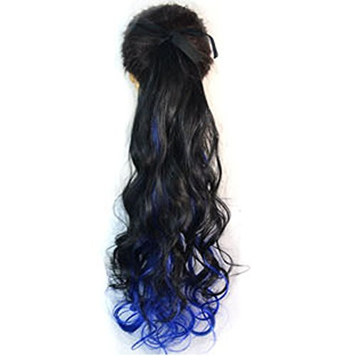 Lace Up Wig - Wigico22 inch Beauty Wig Lace-up Ponytails Drawstring Wavy Hairpiece Ombre Three Tone Color black+ dark purple +dark blue