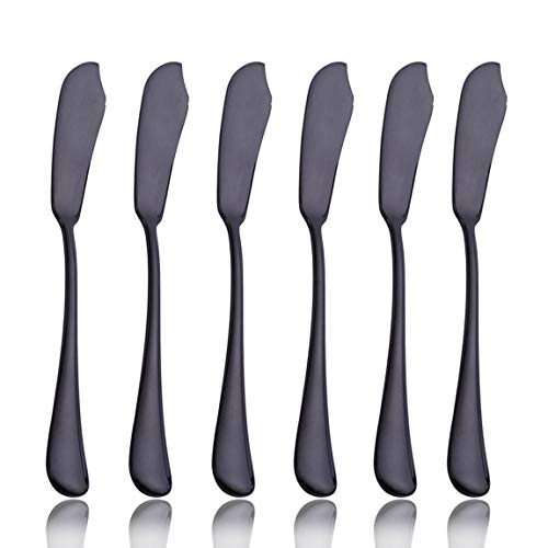Black 6 Piece Butter Knife 6-inch Stainless Steel Cheese Spreader Knives Set for 6 Table Silverware Dishwasher Safe
