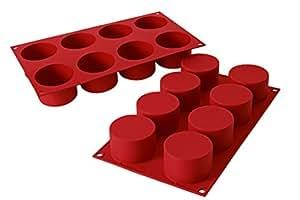 Sf119 molde de silicona con 8 cavidades con forma de cilindro color terracota hogar - Moldes silicona amazon ...