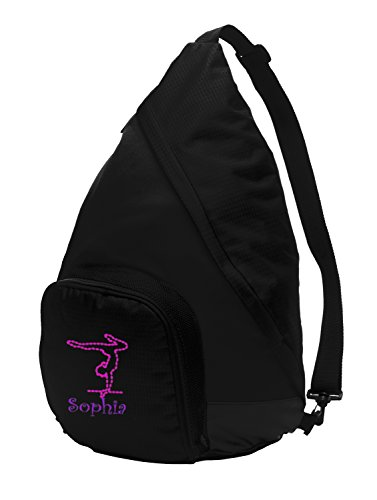 All about me company Active Sling Pack Backpack | Personalized Gymnastics Book Bag (Black/Black) ()