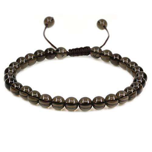 (Natural A Grade Smoky Quartz Gemstone 6mm Round Beads Adjustable Bracelet 7