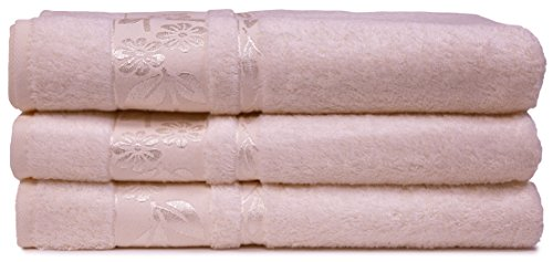 HYGGE [3-Pack] Turkish Luxury Hotel & SPA Bamboo Towel Set with Floral Jacquard, Genuine Bamboo & Cotton for Maximum Softness and Absorbency, 3 Bath Towel (27