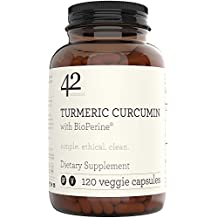42Nutrition Turmeric Curcumin Supplement with Bioperine - Antioxidant and Anti Inflammatory Supplements with 95% Standardized Curcuminoids for Joint and Gut Health - Vegan & Gluten Free Ginger Capsule