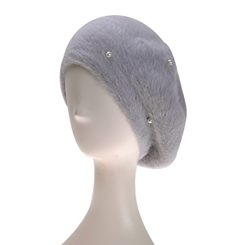 ZLYC Women Classic French Artist Rabbit Hair Yarn Winter Beret Hat Cap with Pearl, Gray