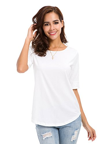 nordicwinds Womens Casual Cotton Fitted T Shirt Half Sleeve Tee Blouse,White,Medium