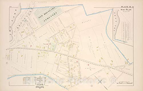 Historic Map | 1881 Troy, New York (N.Y.), Part of Ward 5. [Plate R.]; Sub-Plan. | Vintage Wall Décor | 57in x 36in