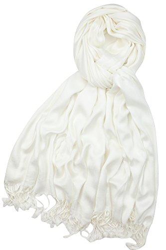 Achillea Soft Silky Solid Pashmina Shawl Wrap Scarf for Wedding Bridesmaid Evening Dress  Premium Ivory