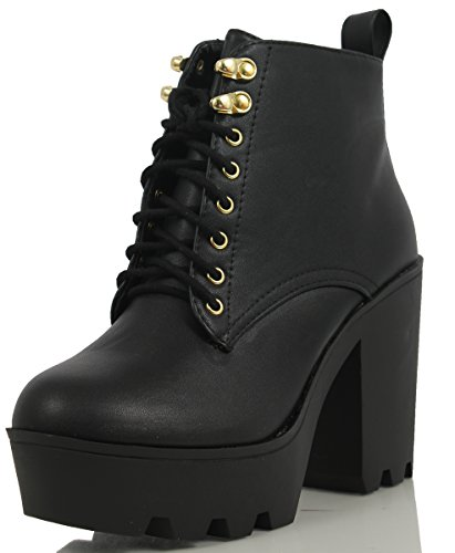 SODA Women's Climate Faux Leather Lace-Up Thick Platform Chunky Heel Lug Ankle Bootie, Black, 7.5 M US