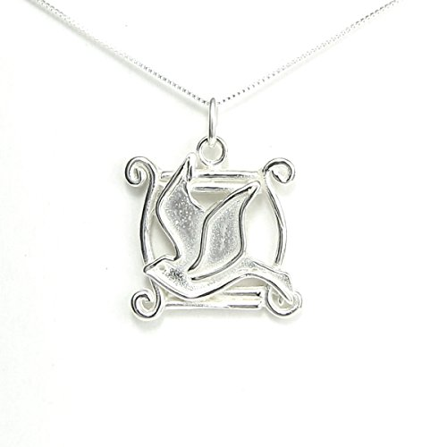 (Holy Spirit Dove Necklace - Love and Happiness Story Card included - Sterling Silver Made in USA - 20