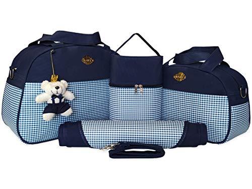 Kit de Bolsas Maternidade 04 Peças Estampa Xadrez Material Térmico Impermeável Cor: Preto
