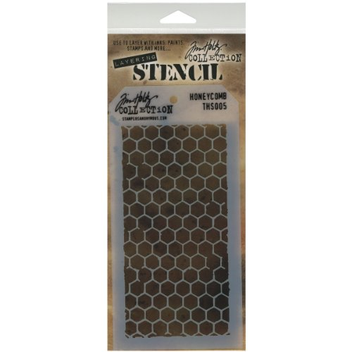 Stampers Anonymous Tim Holtz Layered Stencil, 4.125 by 8.5-Inch, Honeycomb ()