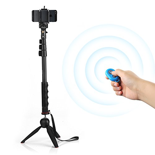 YunTeng YT-188 Handheld Extendable Selfie Sticks + YunTeng YT-228 Mini Tripod + Phone Holder Clip Desktop Self-Tripod + Bluetooth Remote Shutter Controller Self-Timer for iPhone iPad Samsung HTC iOS Andriod Cellphone Smartphones