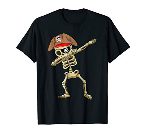 Dabbing Skeleton Pirate T shirt Halloween Costume Gift Idea ()