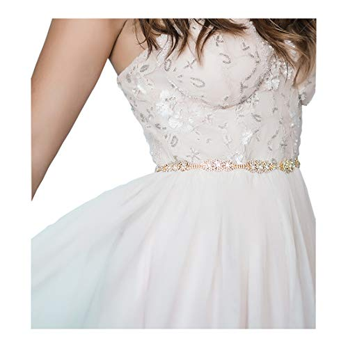 SWEETV Rhinestone Bridal Belt Thin Wedding Sash for Brides Crystal Women Dress Accessories, Gold ()