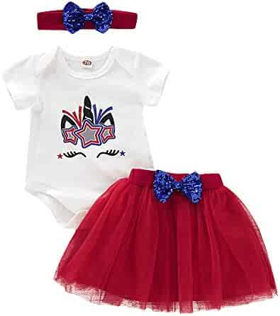 9a84cb403 Girls Clothes Set Unicorn Romper/Flag T Shirt + Red Tutu Skirt + Bow  Headband