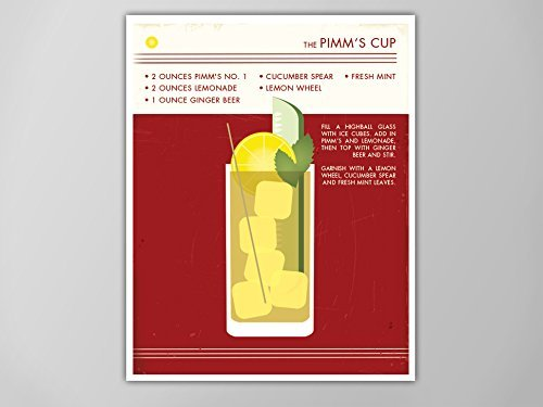 Pimms Cup Art Print, Retro Food and Drink Poster, Vintage Style Graphic Art, Mid Century Modern Design Poster, Cocktail Poster, Pimms Cup ()