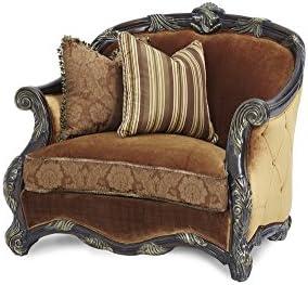 Michael Amini Essex Manor Wood Trim Chair and a Half, Deep English Tea