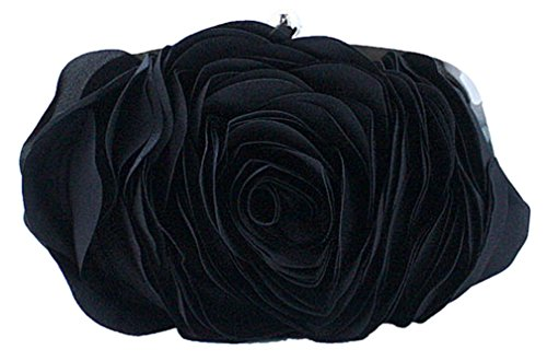 Bywen Womens Rose Pattern Purse Party Clutch Shoulder Bags Black by Bywen